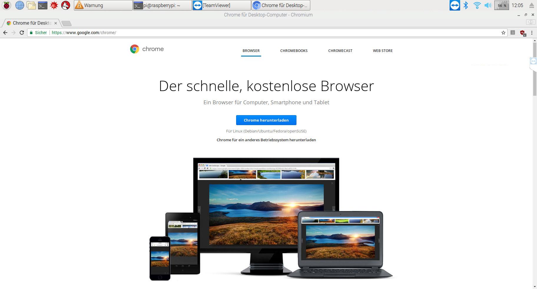 Der Chromium-Browser des Raspberry Pi startet im Kiosk-Modus
